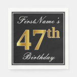 [ Thumbnail: Elegant, Faux Gold 47th Birthday + Custom Name Napkin ]
