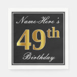 [ Thumbnail: Elegant, Faux Gold 49th Birthday + Custom Name Napkin ]