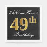 [ Thumbnail: Elegant, Faux Gold 49th Birthday + Custom Name Napkin ]