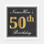 [ Thumbnail: Elegant, Faux Gold 50th Birthday + Custom Name Paper Napkin ]