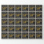 [ Thumbnail: Elegant, Faux Gold 50th Birthday + Custom Name Wrapping Paper ]