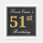 [ Thumbnail: Elegant, Faux Gold 51st Birthday + Custom Name Napkin ]