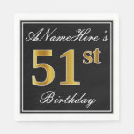 [ Thumbnail: Elegant, Faux Gold 51st Birthday + Custom Name Napkin ]