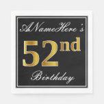[ Thumbnail: Elegant, Faux Gold 52nd Birthday + Custom Name Napkin ]