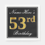 [ Thumbnail: Elegant, Faux Gold 53rd Birthday + Custom Name Napkin ]