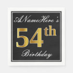 [ Thumbnail: Elegant, Faux Gold 54th Birthday + Custom Name Napkin ]