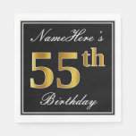 [ Thumbnail: Elegant, Faux Gold 55th Birthday + Custom Name Paper Napkin ]