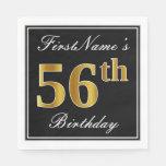 [ Thumbnail: Elegant, Faux Gold 56th Birthday + Custom Name Napkin ]