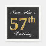 [ Thumbnail: Elegant, Faux Gold 57th Birthday + Custom Name Napkin ]