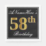 [ Thumbnail: Elegant, Faux Gold 58th Birthday + Custom Name Napkin ]