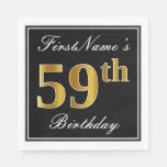 [ Thumbnail: Elegant, Faux Gold 59th Birthday + Custom Name Napkin ]