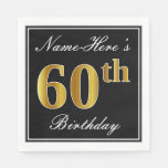 [ Thumbnail: Elegant, Faux Gold 60th Birthday + Custom Name Paper Napkin ]