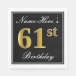[ Thumbnail: Elegant, Faux Gold 61st Birthday + Custom Name Napkin ]