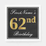 [ Thumbnail: Elegant, Faux Gold 62nd Birthday + Custom Name Napkin ]