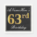 [ Thumbnail: Elegant, Faux Gold 63rd Birthday + Custom Name Napkin ]