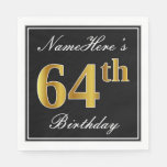 [ Thumbnail: Elegant, Faux Gold 64th Birthday + Custom Name Napkin ]