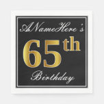 [ Thumbnail: Elegant, Faux Gold 65th Birthday + Custom Name Napkin ]