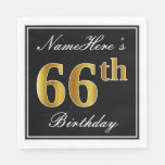 [ Thumbnail: Elegant, Faux Gold 66th Birthday + Custom Name Napkin ]