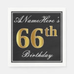 [ Thumbnail: Elegant, Faux Gold 66th Birthday + Custom Name Paper Napkin ]