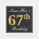 [ Thumbnail: Elegant, Faux Gold 67th Birthday + Custom Name Paper Napkin ]