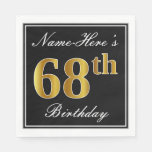[ Thumbnail: Elegant, Faux Gold 68th Birthday + Custom Name Napkin ]