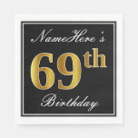 [ Thumbnail: Elegant, Faux Gold 69th Birthday + Custom Name Paper Napkin ]