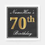 [ Thumbnail: Elegant, Faux Gold 70th Birthday + Custom Name Paper Napkin ]