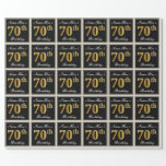 [ Thumbnail: Elegant, Faux Gold 70th Birthday + Custom Name Wrapping Paper ]