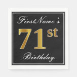 [ Thumbnail: Elegant, Faux Gold 71st Birthday + Custom Name Paper Napkin ]