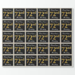 [ Thumbnail: Elegant, Faux Gold 72nd Birthday + Custom Name Wrapping Paper ]