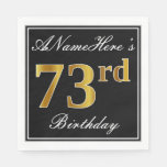 [ Thumbnail: Elegant, Faux Gold 73rd Birthday + Custom Name Paper Napkin ]