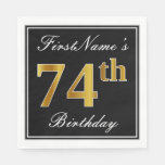 [ Thumbnail: Elegant, Faux Gold 74th Birthday + Custom Name Paper Napkin ]