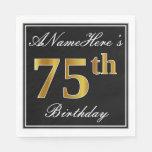 [ Thumbnail: Elegant, Faux Gold 75th Birthday + Custom Name Paper Napkin ]