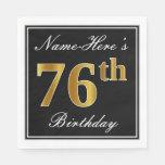 [ Thumbnail: Elegant, Faux Gold 76th Birthday + Custom Name Napkin ]