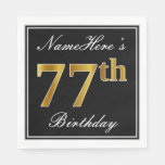 [ Thumbnail: Elegant, Faux Gold 77th Birthday + Custom Name Paper Napkin ]