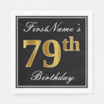 [ Thumbnail: Elegant, Faux Gold 79th Birthday + Custom Name Paper Napkin ]