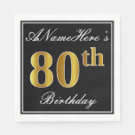 [ Thumbnail: Elegant, Faux Gold 80th Birthday + Custom Name Paper Napkin ]