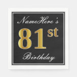[ Thumbnail: Elegant, Faux Gold 81st Birthday + Custom Name Paper Napkin ]