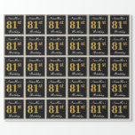 [ Thumbnail: Elegant, Faux Gold 81st Birthday + Custom Name Wrapping Paper ]