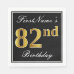 [ Thumbnail: Elegant, Faux Gold 82nd Birthday + Custom Name Paper Napkin ]