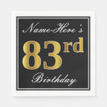 [ Thumbnail: Elegant, Faux Gold 83rd Birthday + Custom Name Napkin ]