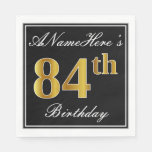 [ Thumbnail: Elegant, Faux Gold 84th Birthday + Custom Name Napkin ]