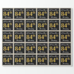 [ Thumbnail: Elegant, Faux Gold 84th Birthday + Custom Name Wrapping Paper ]