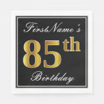 [ Thumbnail: Elegant, Faux Gold 85th Birthday + Custom Name Paper Napkin ]