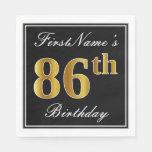 [ Thumbnail: Elegant, Faux Gold 86th Birthday + Custom Name Napkin ]
