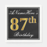 [ Thumbnail: Elegant, Faux Gold 87th Birthday + Custom Name Napkin ]