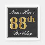 [ Thumbnail: Elegant, Faux Gold 88th Birthday + Custom Name Paper Napkin ]