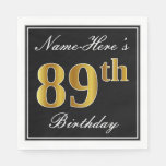 [ Thumbnail: Elegant, Faux Gold 89th Birthday + Custom Name Paper Napkin ]