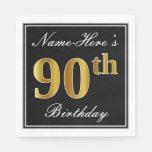 [ Thumbnail: Elegant, Faux Gold 90th Birthday + Custom Name Napkin ]