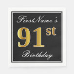 [ Thumbnail: Elegant, Faux Gold 91st Birthday + Custom Name Napkin ]